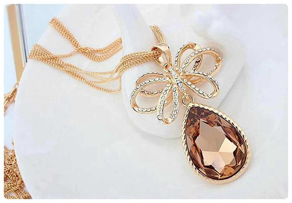 Aooaz Alloy Sweater Necklace Pendant Necklace For Women Flower Teardrop Crystal Cubic Zirconia Necklace