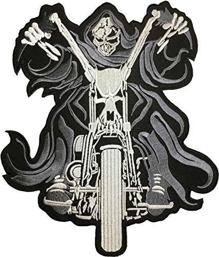 [Large Size] Papapatch Grim Reaper Motorcycle God Angel of Death Ghost Dangerous Evil Scythe Devil Biker Punk Ride Costume Jacket DIY Embroidered Sew Iron on Patch (IRON-GRIM-MOTOR)