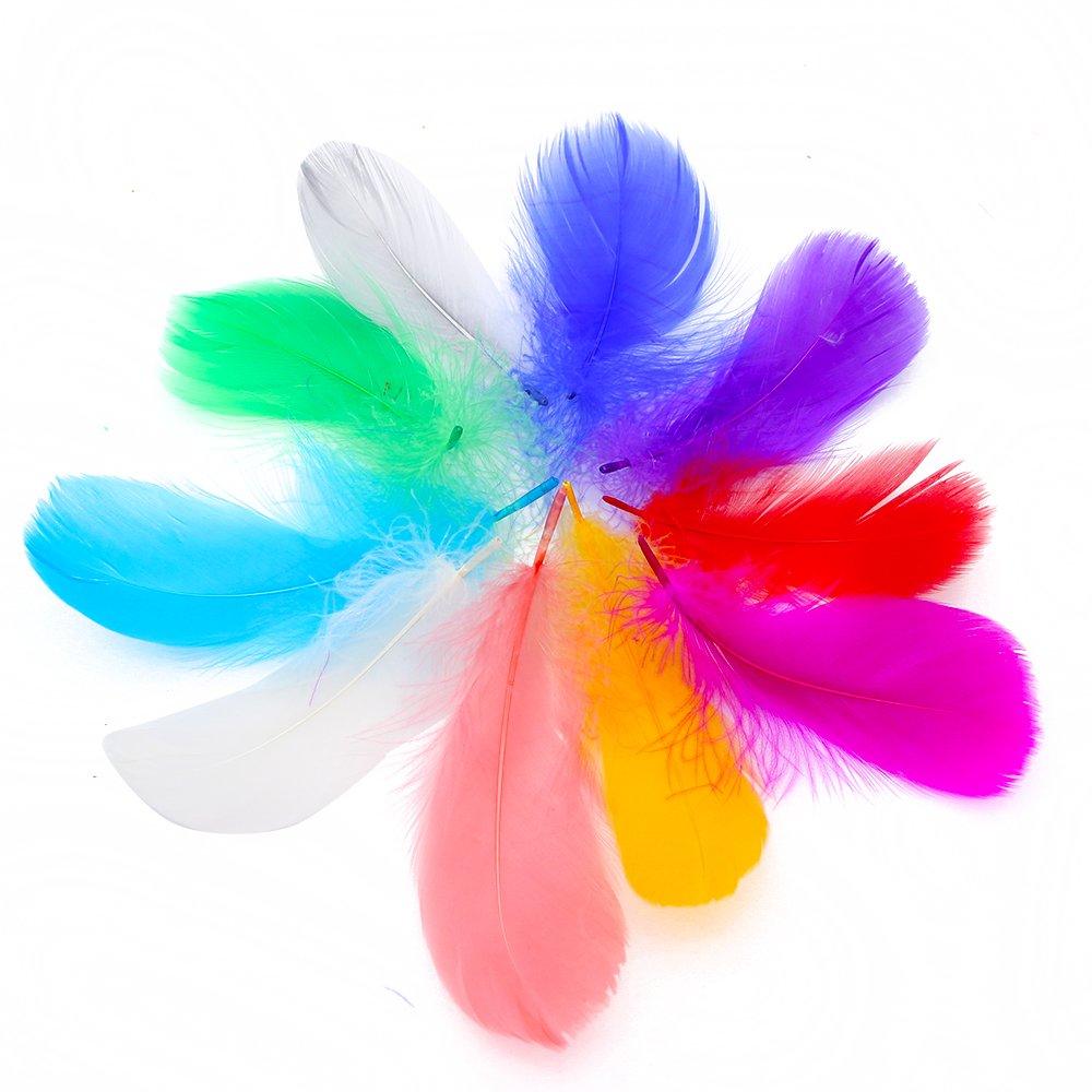 """IEUUMLER 500 pezzi Piume colorate, 10 colori, sicuri e non tossici e non sbiadiscono IE016 (500PCS-3""""-5"""")"""