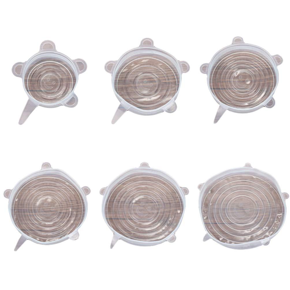 NiSengs Coperchio in Silicone Estensibile,6 Pezzi di Tappi in Silicone per Contenitori Flessibile, Coperchi per Alimenti 1# Bianco