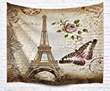 A.Monamour Brown Mottled Backgrounds Vintage Floral Butterfly Paris Eiffel Tower Postcard With Stamp Print Fabric Tapestry Wall Hanging Decors for Bedroom Decorations 229x153cm/90''x60''