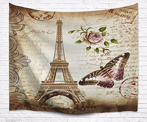View Postcard Stamp - A.Monamour Brown Mottled Backgrounds Vintage Floral Butterfly Paris Eiffel Tower Postcard With Stamp Print Fabric Tapestry Wall Hanging Decors for Bedroom Decorations 229x153cm/90