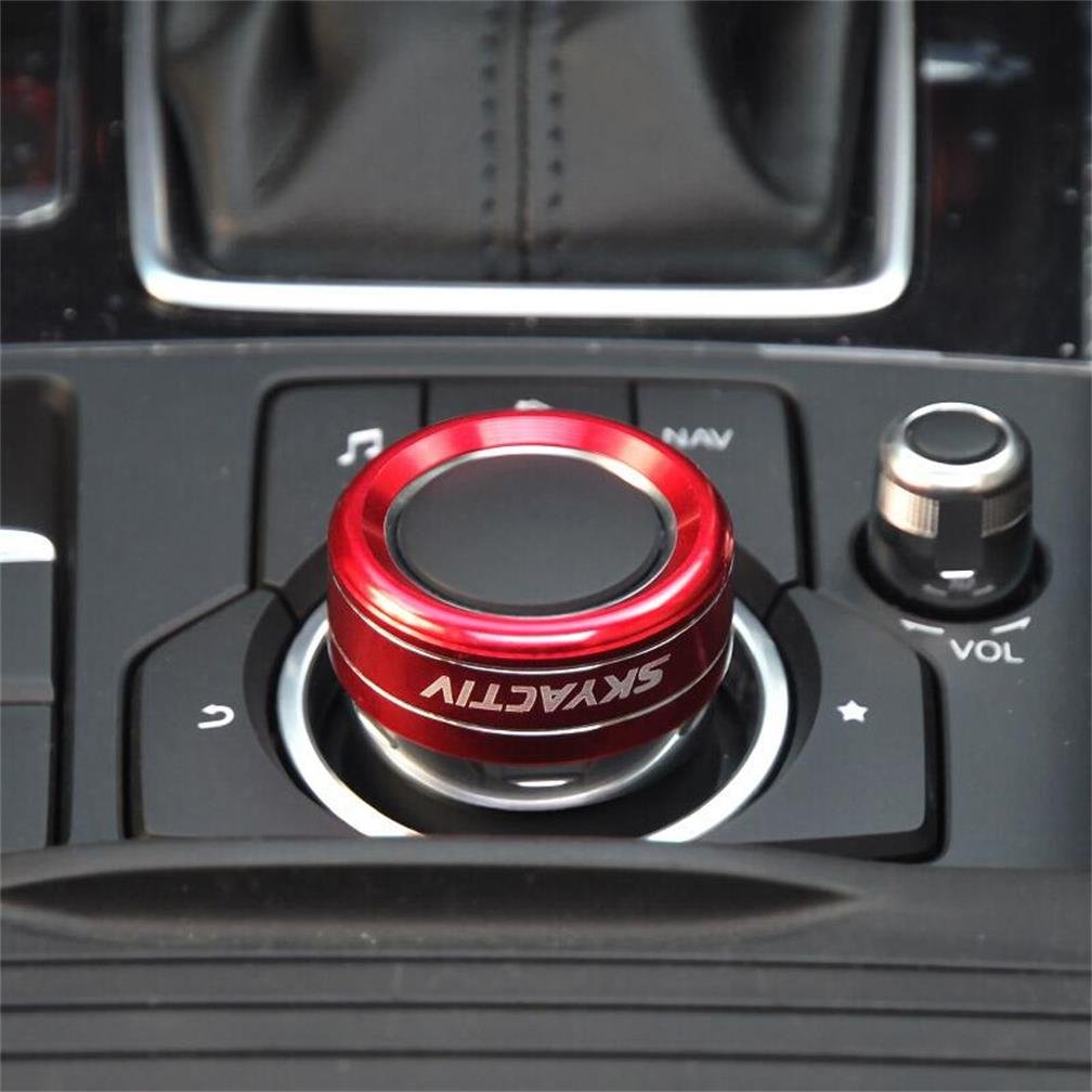 DeAutoBug Aluminium Alloy Car Air Condition Control Cover Decoration AC Climate Control Ring Knob Switch Trim Frame Decor Sticker for Mazda CX-5 Mazda 3 Mazda 6 2014 2015 2016 2017 2018