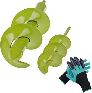 """LOCOLO Auger Drill Bit, 2 PCS Garden Spiral Bit with Garden Genie Gloves for Planting Bulb Seedlings & Bedding Earth Auger Drill Bit (11.8""""x3.15"""" and 8.7""""x1.57"""")"""