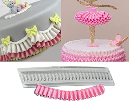 Pleated Silicone Mold Ruffle Border Fondant Molds Cake Kitchen Confeitaria Cozinha Cupcake Decorating Tools Molds Candies