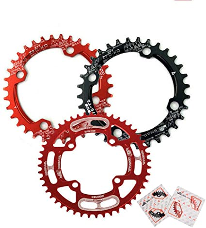 FIFTY-FIFTY 104BCD Oval Narrow Wide Chainring,Single Chainring For 9//10//11-Speed with 4 Alloy Chainring Bolts