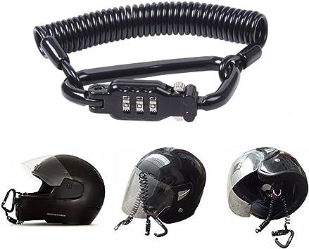 Candado Casco Moto Candado Bicicleta Combinación, Motocicleta de 3 Dígitos Combinación de Bloqueo de Contraseña y 6 Pies de Cable de Acero para Casco