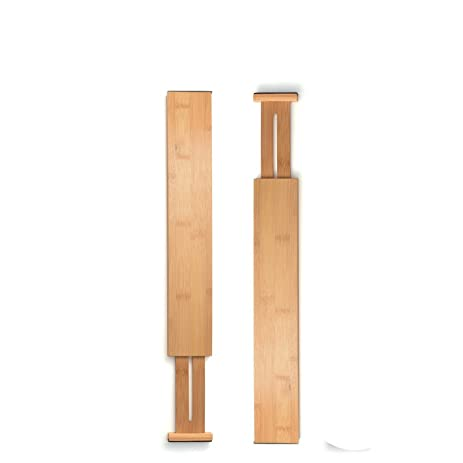 bamboo kitchen drawer organizer by bamb  si set of 2 expandable  u0026 adjustable drawer dividers keep amazon com  bamboo kitchen drawer organizer by bamb  si set of 2      rh   amazon com