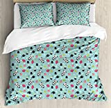 Ambesonne Asian Duvet Cover Set King Size, Panda Bears Koi Fishes Chopsticks Tea and Ricebowl Japanese Far Eastern Illustration, Decorative 3 Piece Bedding Set with 2 Pillow Shams, Multicolor