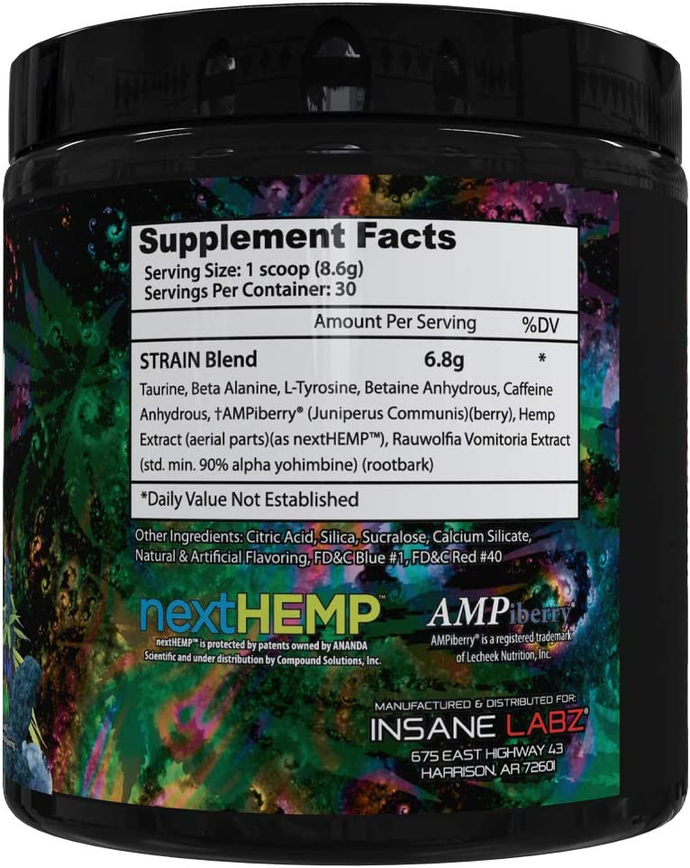 Insane Labz Strain nextHEMP Infused Mid Stimulant Pre Workout Powder, Loaded with Caffeine Yohimbine Fueled by AMPiberry, 30 Servings Blueberry Yum Yum