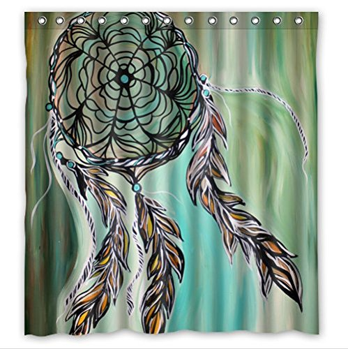 Fashionable Design Colourful Dream Catcher Feathers Waterproof Polyester Fabric Shower Curtain 66quot