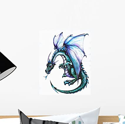 Wallmonkeys Blue Dragon Wall Decal   12u0026quot; H X 9u0026quot; W   Peel And