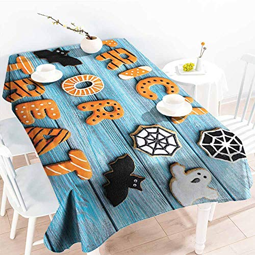 Onefzc Fashions Rectangular Table Cloth,Vintage Halloween Trick or Treat Cookie Wooden Table Ghost Bat Web Halloween,Resistant/Spill-Proof/Waterproof Table Cover,W60x84L Blue Amber Multicolor -