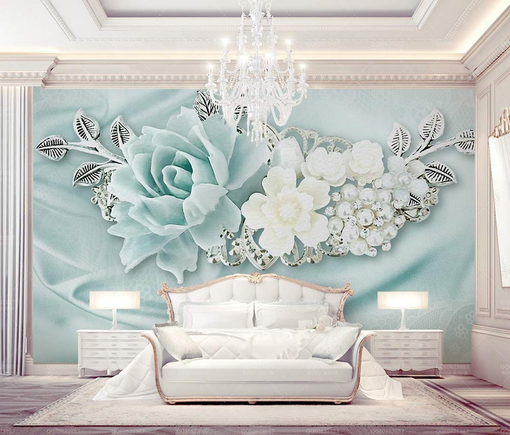Amazon Com Murwall Floral Wallpaper Turquoise Flower Wall Mural