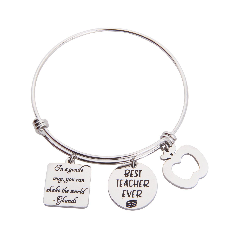 7a12015415 MAOFAED Teacher Gift Graduation Gift Teacher Bracelet Best Teacher Ever Teacher  Appreciation Gift (Best Teacher Ever Bracelet)