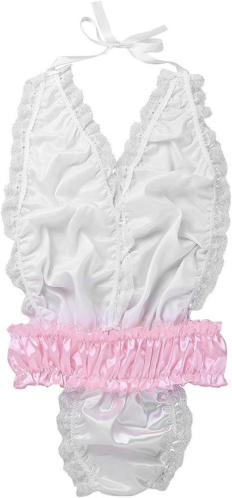 CHICTRY Mens Shiny Satin Sissy Lingerie Lace Trim Bodysuit Halter Neck Bikini Nightwear