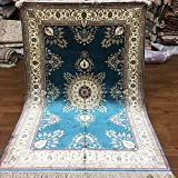 4'x6' Oriental Silk Rugs Classic Traditional Handmade Persian Floral Pattern Bedroom Living Room Carpet (Blue) H002A4x6