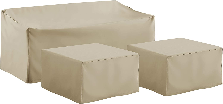 Crosley Furniture MO75013-TA Heavy-Gauge Reinforced Vinyl 3-Piece Furniture Cover Set (Sofa, 2 Square Table/Ottoman), Tan