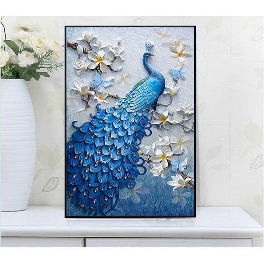 YIZRIO DIY 5D Peacocks Full Diamond Painting by Number Kits,Crystal Rhinestone Diamond Embroidery Paintings Pictures Arts Craft for Home Wall Decor
