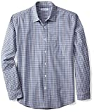 Amazon Essentials Men's Regular-Fit Long-Sleeve Gingham Shirt, Blue/Black Gingham, Large