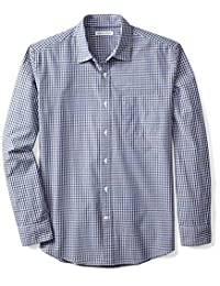 Amazon Essentials Men's Regular-Fit Long-Sleeve Gingham Shirt