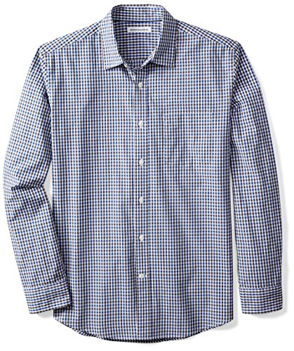 Amazon Essentials Men's Regular-Fit Long-Sleeve Gingham Shirt, Blue/Black Gingham, X-Large by Amazon Essentials