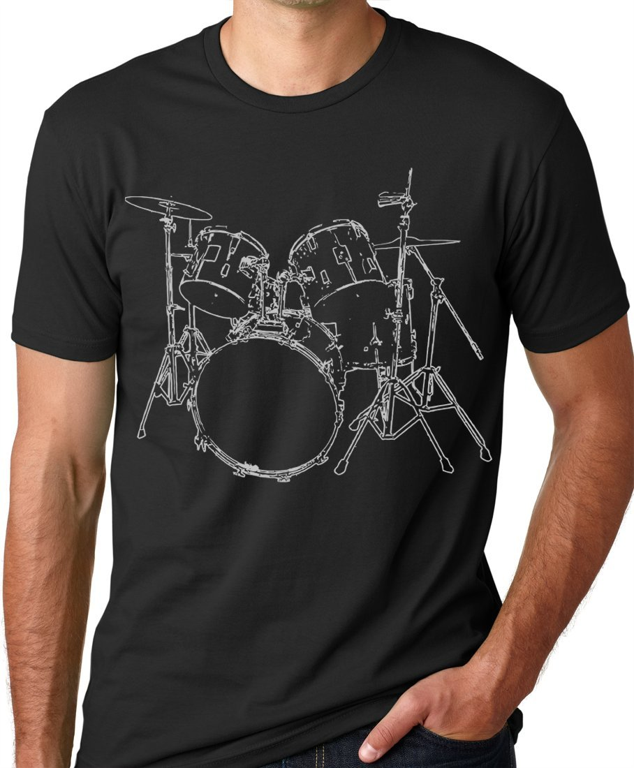 Think Out Loud Apparel Drums T-shirt Artistic design Drummer Tee Black M