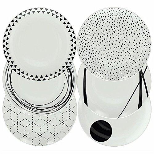 Bianco Porcellana Tognana Servizio tavola 18 Pezzi Graphic