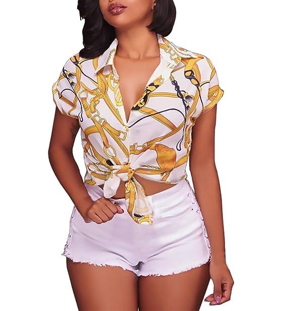 Battercake Camisas Mujer Elegantes Manga Corta Cuello Solapa Un Solo Pecho Moda Casuales Mujeres Vintage Hippie