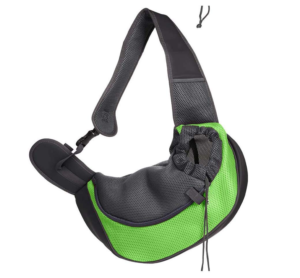 Green M Green M Xinnegen Portable Outgoing pet bag, cat and dog portable slung shoulder bag, breathable mesh pet backpack (color   Dark bluee, Size   L) (color   Green, Size   M)