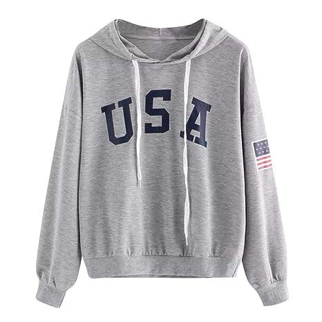 Qiusa Sudadera con Capucha Impresa con Capucha Impresa con Capucha y Camiseta de EE. UU