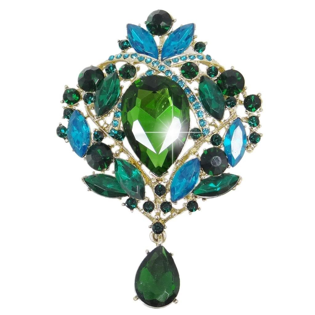 EVER FAITH Women's Austrian Crystal Elegant Leaf Teardrop Pendant Brooch Green w/Blue Gold-Tone