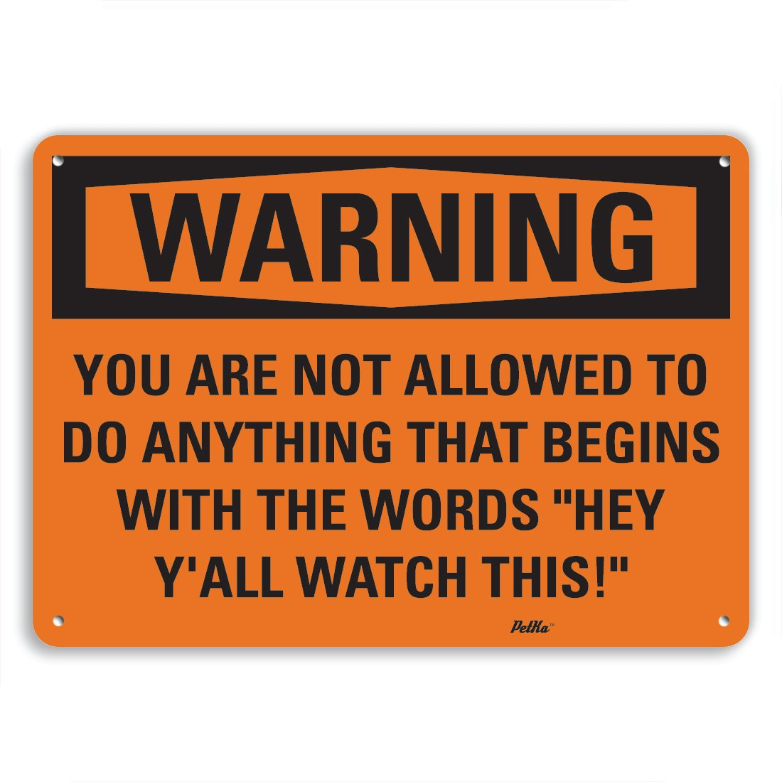 PetKa Signs and Graphics PKFO-0075-NA_14x10''You are not allowed to do ANYTHING that begins with the words''Hey Y'all watch this!'''' Aluminum Sign, 14'' x 10''