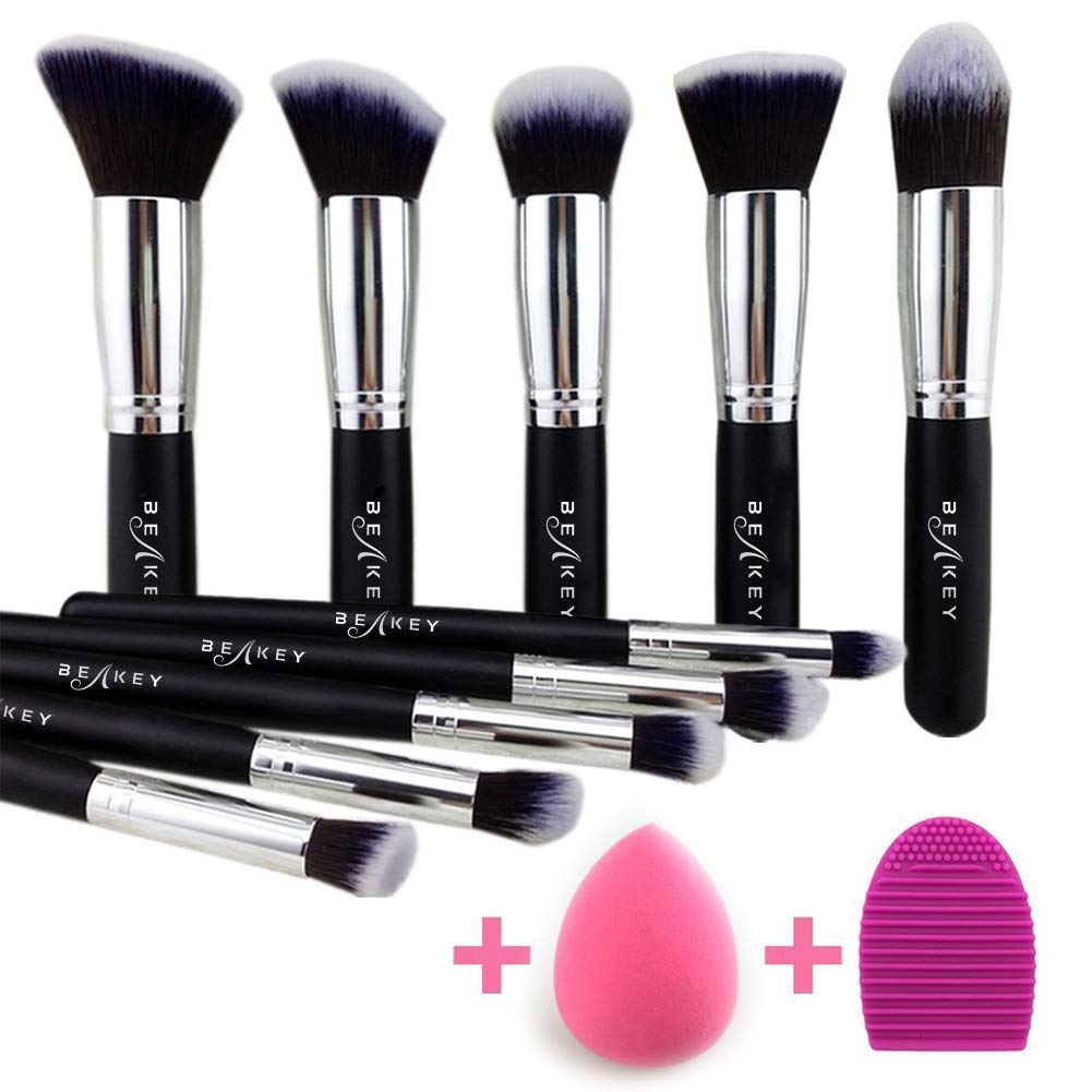 BEAKEY Makeup Brush Set Premium Synthetic Kabuki Foundation Face Powder Blush Eyeshadow Brushes Makeup Brush Kit with Blender Sponge and Brush Egg (10+2pcs,Black/Silver) Noble Life