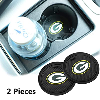 2 Pack 2.75 inch for Green Bay Packers Car Interior Accessories Anti Slip Cup Mat for All Vehicles (Green Bay Packers): Automotive