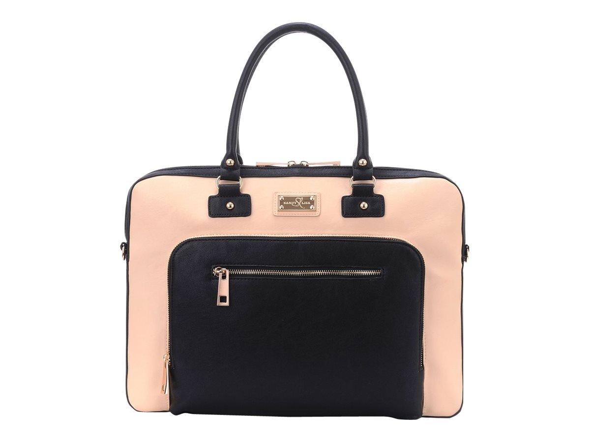 Sandy Lisa SLLDN-CRBK-14 London Notebook Carrying Case 15.6'', Cream, Black/Cream