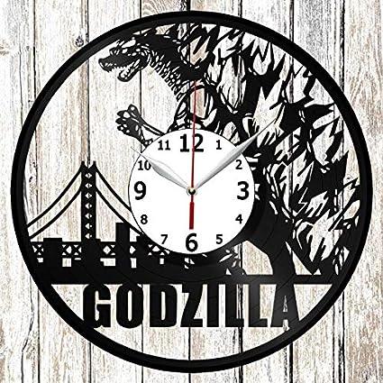 Godzilla Vinel Record Wall Clock Home Art Decor Original Gift Unique Design Handmade Vinyl Clock Black
