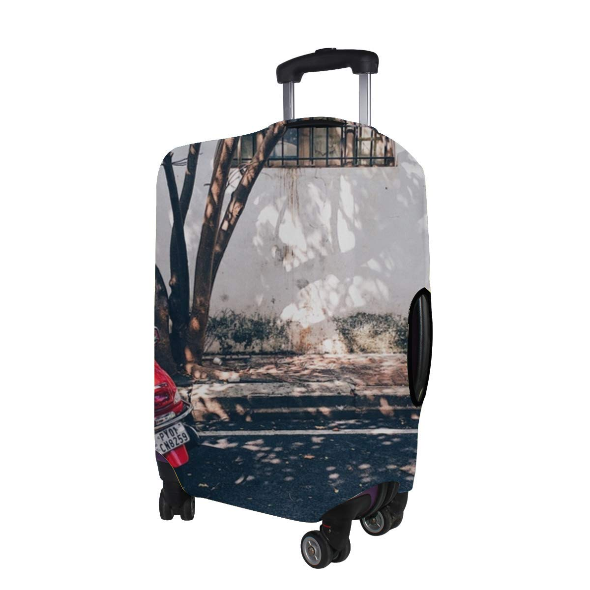Scooter Moped Street Shadow Pattern Print Travel Luggage Protector Baggage Suitcase Cover Fits 18-21 Inch Luggage