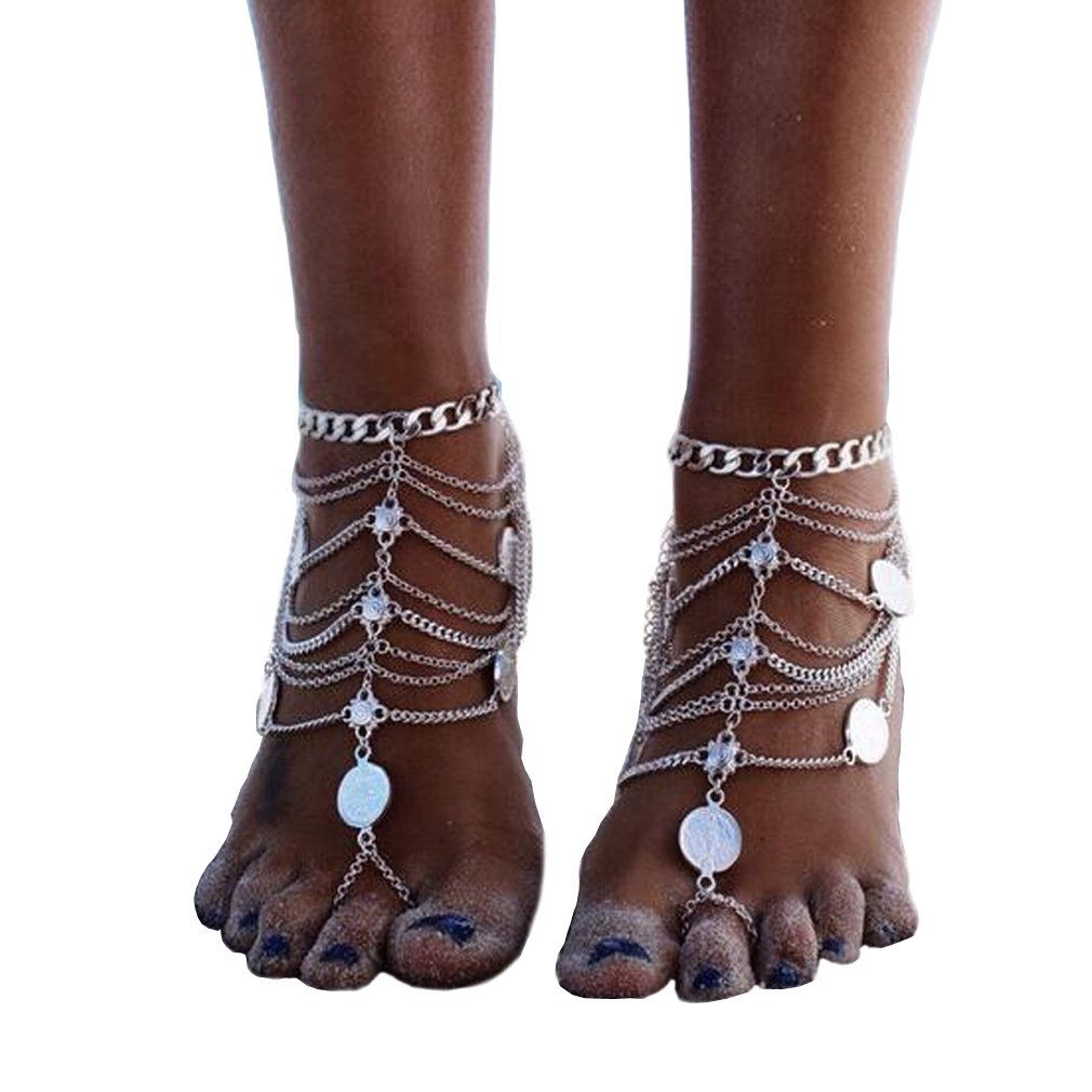 Topcoco Vintage Style Anklet Coin Tassels Beach Ankle Chain TP703638-1