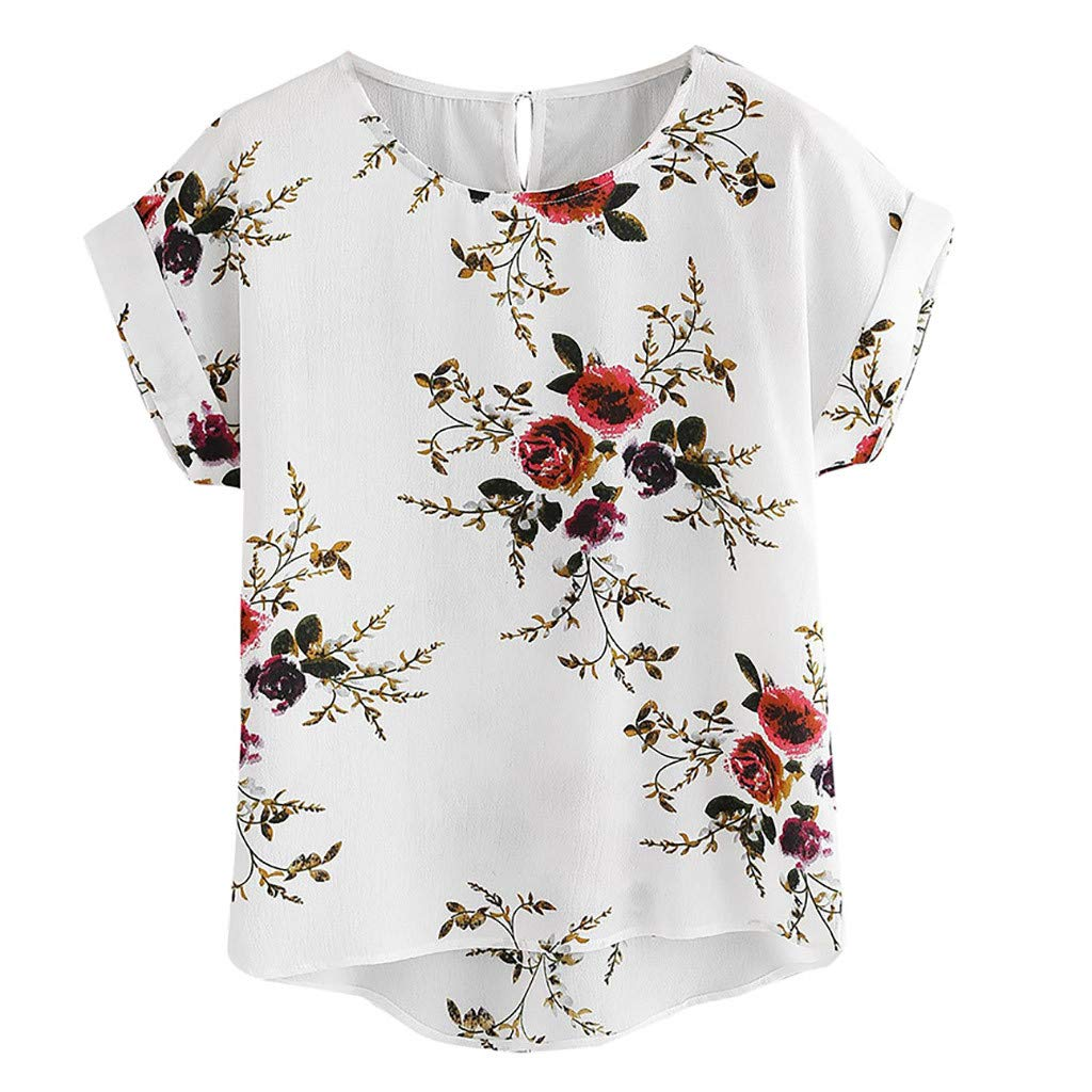 Womens Plus Size Floral Print Tee Top,Ladies Vintage Casual Short Sleeve T Shirt,Female Casual Bat Pullover
