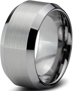 10mm Flat Brushed Mens Tungsten Wedding Band Amazoncom