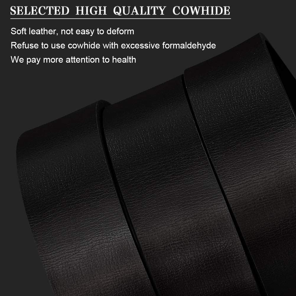 Gift Box MHOMER Mens Leather Ratchet Dress Belt with Automatic Buckle and Invisible Belt Tail Design