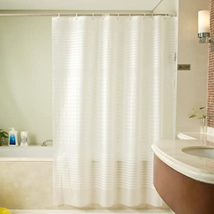 EVA Shower Curtain Liner With Free Hooks Water Proof Antibacterial Nontoxic 78x78