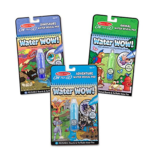 Melissa & Doug On The Go Water Wow! Activity Pad 3-Pack, Dinosaurs, Adventure, Animal (Reusable Water-Reveal Coloring Books) ()