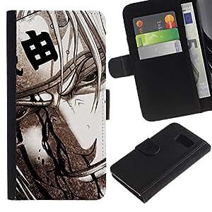 NEECELL GIFT forCITY // Billetera de cuero Caso Cubierta de protección Carcasa / Leather Wallet Case for Samsung Galaxy S6 // Guerrero japonés