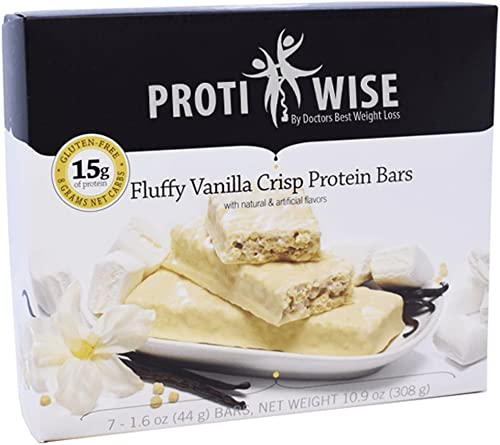 ProtiWise – Fluffy Vanilla Crisp Bars Gluten Free Diet Snack Bars High Protein, High Fiber, Low Sugar, Cholesterol Free 7 Box