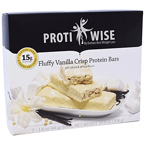 ProtiWise - 15g High Protein Weight Loss Bars for Any Diet Fluffy Vanilla Low Calorie, Low Fat, Low Sugar 7 Box