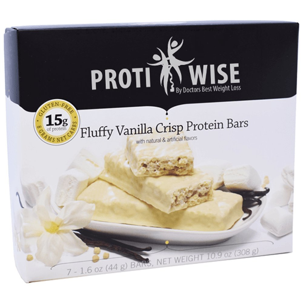 ProtiWise - High Protein Diet Snack Bars | Fluffy Vanilla Crisp | Low Calorie, Low Fat, LowSugar, High Fiber, Gluten Free (7/Box)