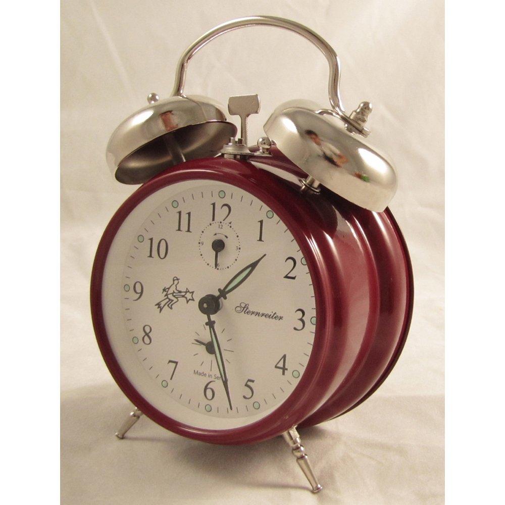 Dark Red Sternreiter Double-bell Mechanical Alarm Clock - Fire Red