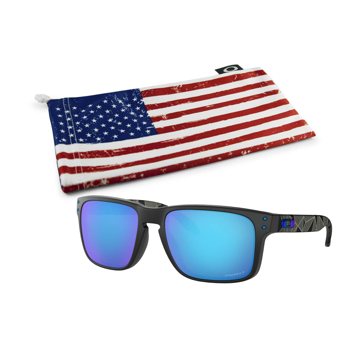 Oakley Holbrook Sunglasses (Matte Black Prizmatic Frame, Prizm Sapphire Polarized Lens) with Country Flag Microbag by Oakley